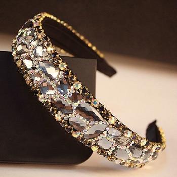 Korean Fashion Luxury Sparkly Gray Crystal Bridal Hairband Stone Rhinestone Wedding Headband For Women Hair Accessories Jewelry 10