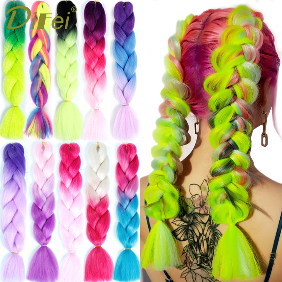 DIFEI Women 24 Inch 100g/pack Crochet Hair Jumbo Braids Pink Green Synthetic Jumbo Braids Long Ombre Braiding Hair Extensions