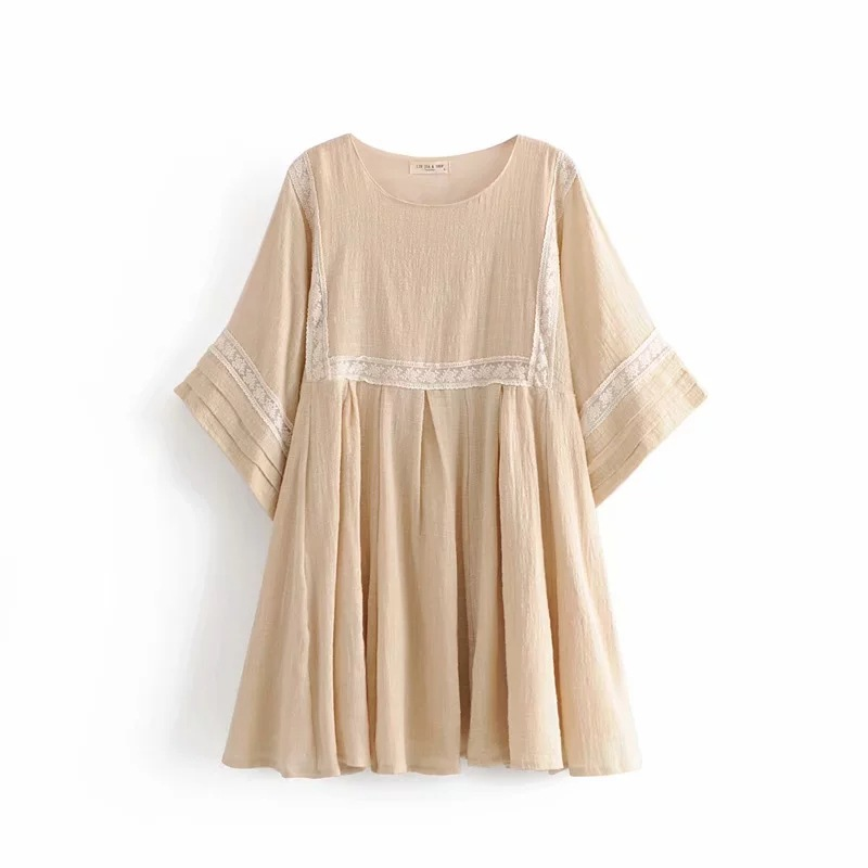 Western Style 2019 Summer Lace Joint Loose-Fit Versatile Big Hemline-Shaped Dress Women's Slimming Beige GIRL'S Dress