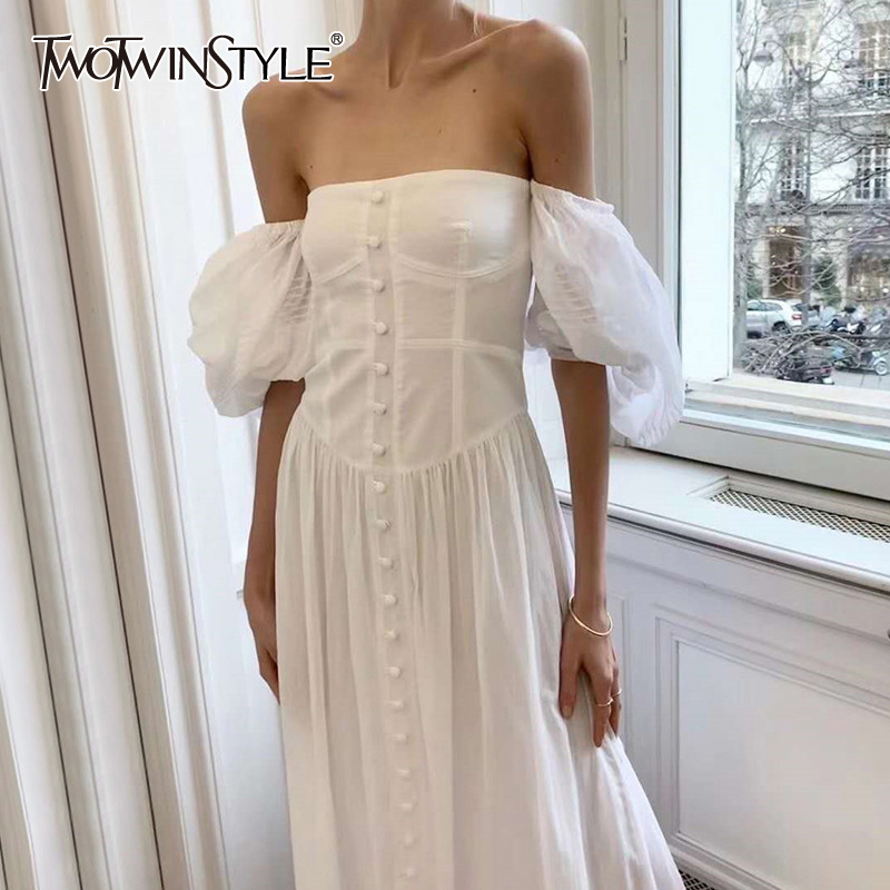 TWOTWINSTYLE Vintage Ruched Party Dresses Female Square Collar Lantern Half Sleeve High Waist Maxi Dress Women Clothing 2020 New