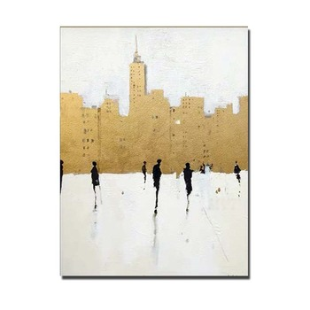 Hand Painted Abstract Gold Foil Impasto Art Oil Painting On Canvas Modern Wall Pictures For Living Room Home Decor Drop Shipping