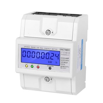 Multi-functional Single Phase or 3 Phase 4 Wire 5-100A 230V AC Energy Meter Electric Consumption Meter Monitor DIN Rail