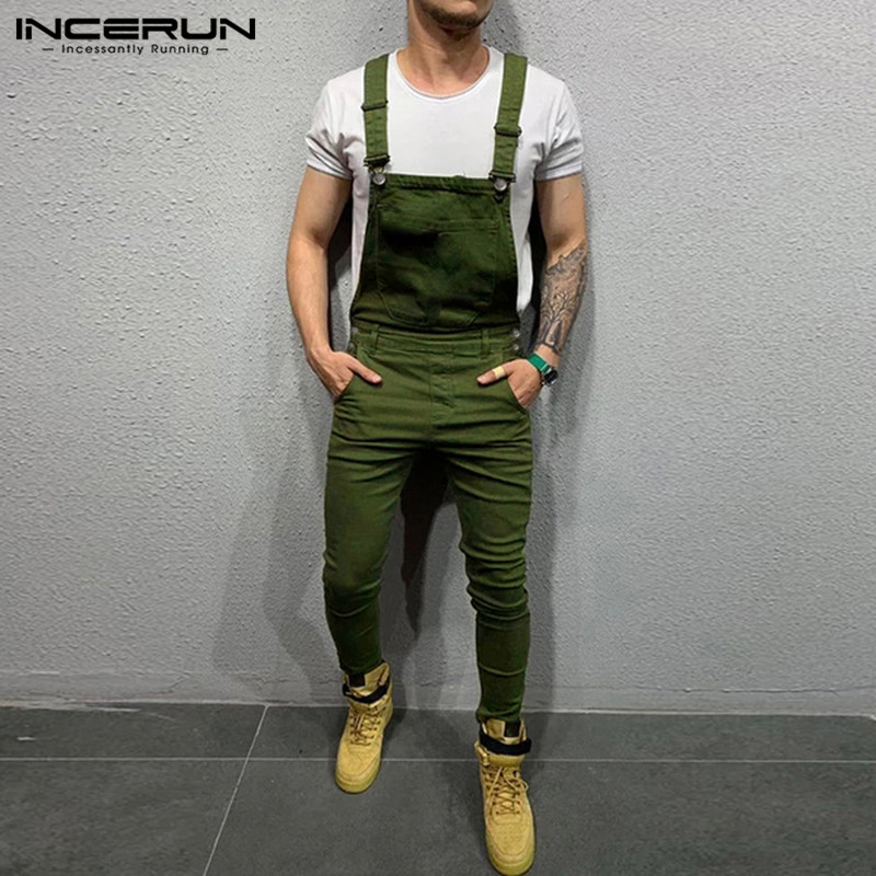 INCERUN Fashion Men Jumpsuit Solid Joggers Suspenders Pockets Fitness Streetwear Trousers Casual Bib Pants Men Overalls 2020 5XL