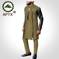 jacquard fabric cotton suit for men tailor made full Leather sleeves top + slim pants men's casual suit T2016007