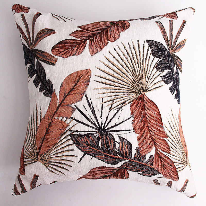 Countryside Style Modern Pillowcase Jacquard Weave Thickening Chenille  Leaf Pattern Cushion Cover Home Sofa Art Decoration 1 PC