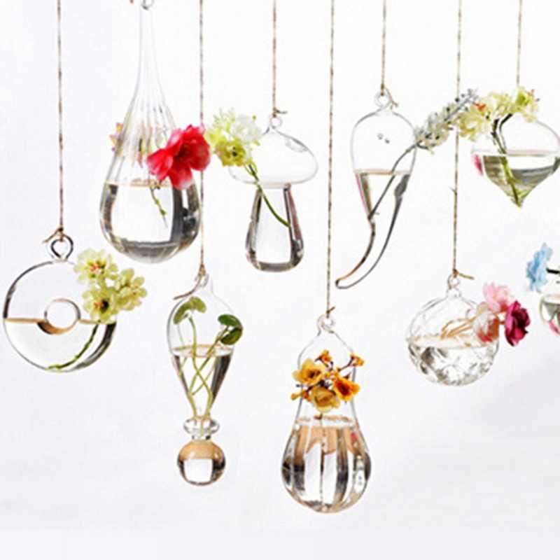 รูปร่างต่างๆแขวนแจกันแก้วโปร่งใสในร่มสวนขวดตกแต่งพืชสวนบ้านสวนแขวนภาชนะ