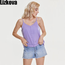 Lizkova Satin Festival Hauts Printemps été 2021 Femmes V-cou Sans Manches Décontracté Camisole Bouton Design Doux Femme Haut