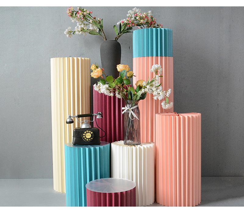 JAROWN Wedding Props Stage Multicolor Origami Round Pillar Three Piece Shopping Mall Decor Home Birthday Party Arrangement Decor (21)