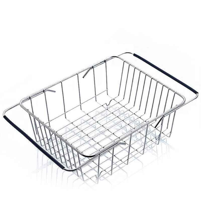 Expandable Kitchen Dish Drainer Stainless Steel Bowl Drying Rack Sink Basket