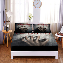 Mattress-Cover Bed-Sheet Pillowcases of Print with Elastic-Band Four-Corners Hands Terror