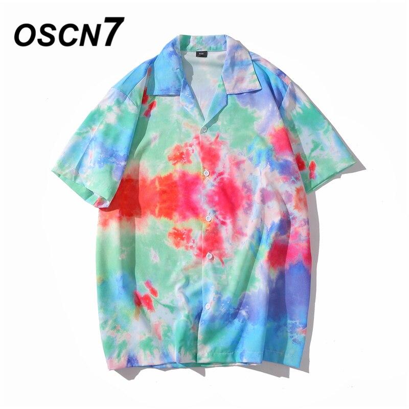 OSCN7 Casual Printed Short Sleeve Shirt Men Street 2020 Hawaii Beach Oversize Women Fashion Harujuku Shirts For Men XQ66