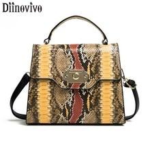 DIINOVIVO Retro Serpentine Pattern Crossbody Bags For Women Square Bag Lock Design Handbags Shoulder Female WHDV1263