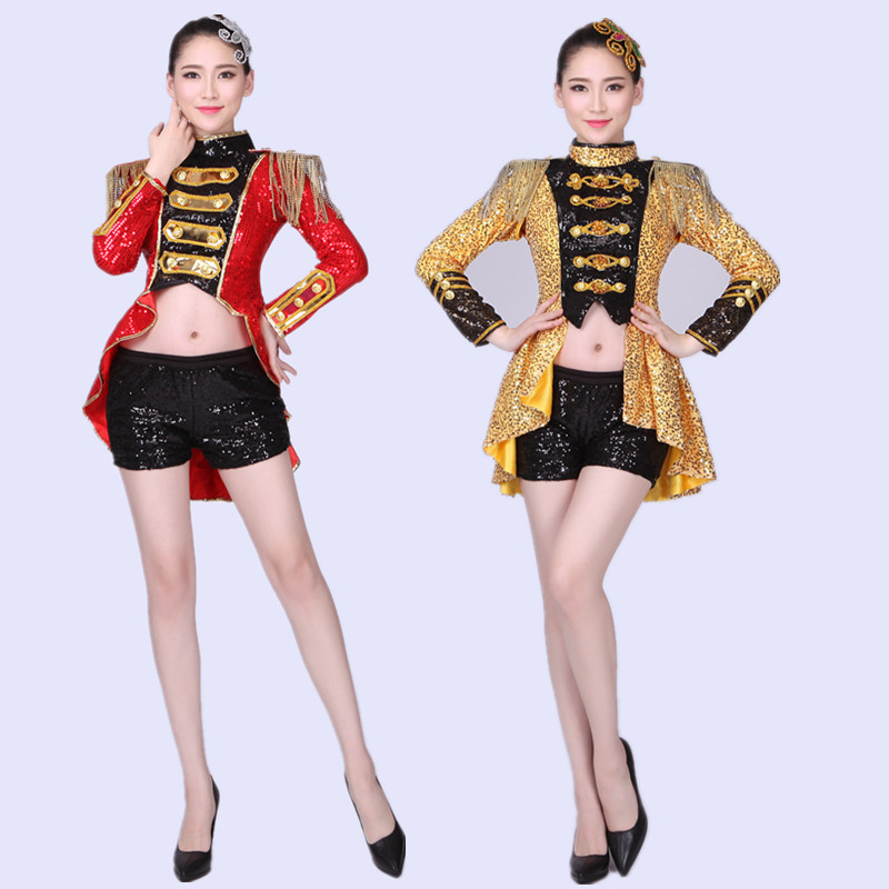 Jazz New Modern Dance Performance Clothes Youth Adult Female Sense Ds Bar Open Navel Suit Tuxedo Costumes Dance Costume XS-2XL