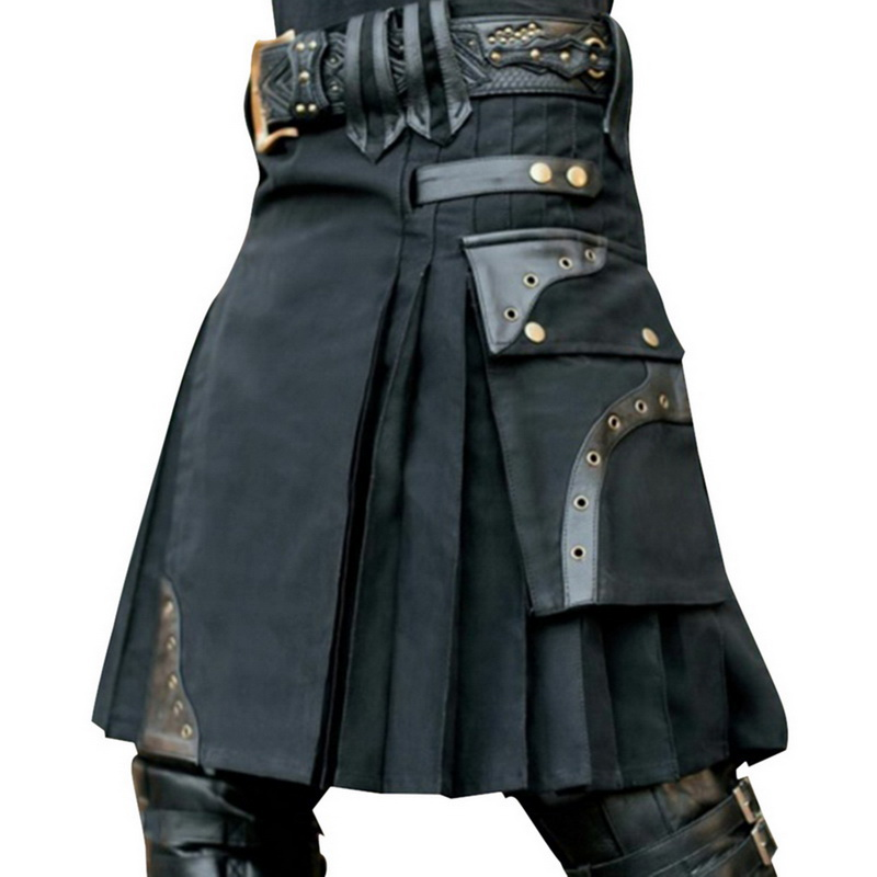 DIHOPE 2020 New Scottish Mens Kilt Traditional Skirt Metal Classic Retro Traditional Personality Kilts Check Pattern Skirts