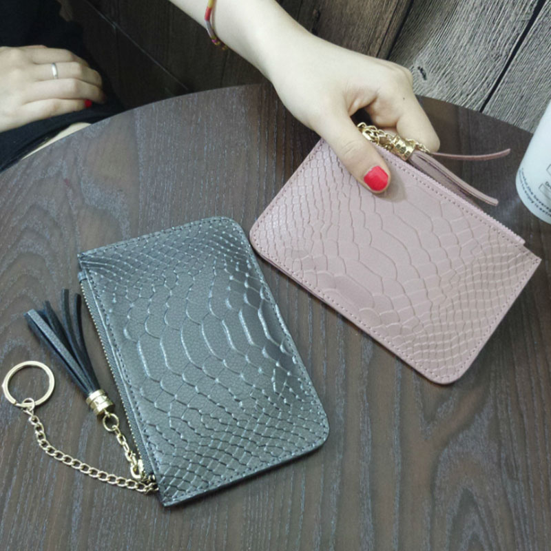 Fashion Ladies Wallet Mini Coin Purse With Card Holder Real Leather Handbag Snake Pattern Short Zipper Slim Clutch With Keychain