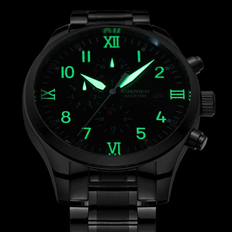 GUANQIN di Lusso Automatico orologio Meccanico Orologi da Uomo Calendario pilota vigilanza Superiore di Marca Orologio Da Polso Impermeabile Relogio Masculino