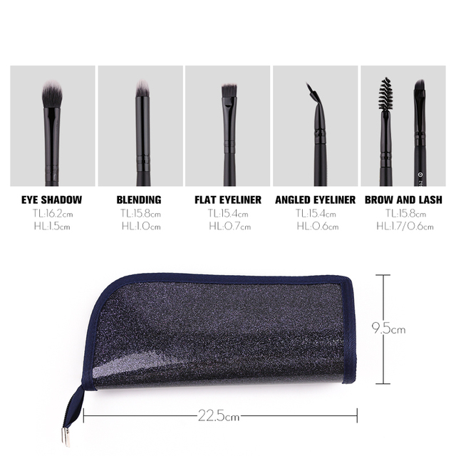 ZOREYA Classic Black Makeup Brushes 7/9/15pcs Comfortable Synthetic Hair Make Up Brush Set Foundation Eye Shadow Cosmetics Tool 5
