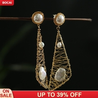 Fashion Non fading Natural Special shaped Pearl Silk Winding New Process Geometric Ear Nail new s925 silver women's fashion jew