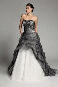Image 2 - Robe de mariée gothique Vintage, à plis noirs et blancs, robe de mariée à volants, à plis, robe de mariée, 2020
