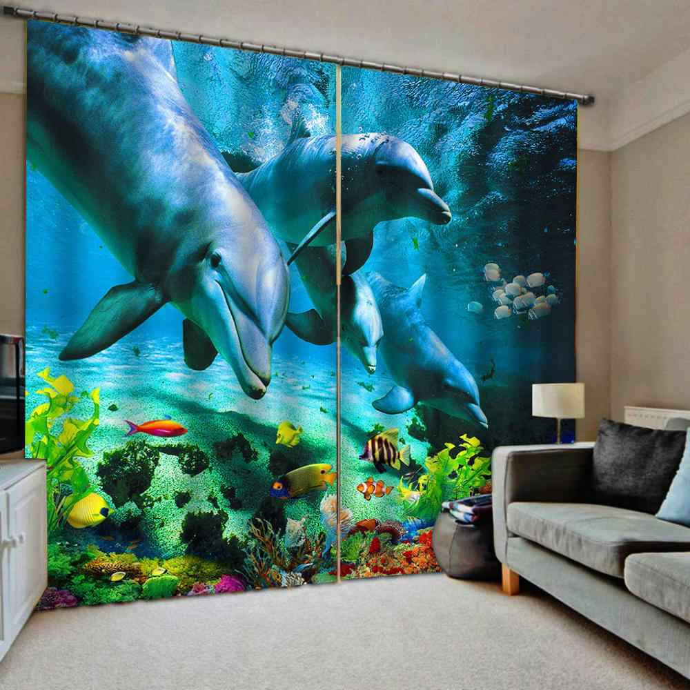 HD underwater dolphins Blackout 3D window curtain bed room curtain home window Customize any size