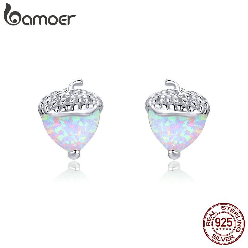 Bamoer Authentic 925 Sterling Silver Opal Nuts Stud Earrings For Women Brincos Exquisite 2020 Ear Statement Jewelry SCE855