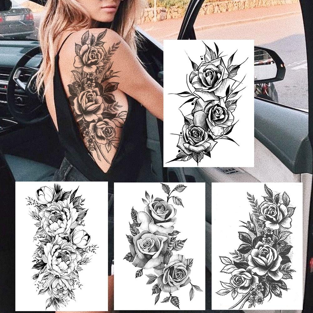 Sexy Women Temporary Tattoo Sticker Realistic Rose Flower Bloosom Tattoo Body Arm Art Waterproof Jelly Bouquet Tatoo On Back Leg