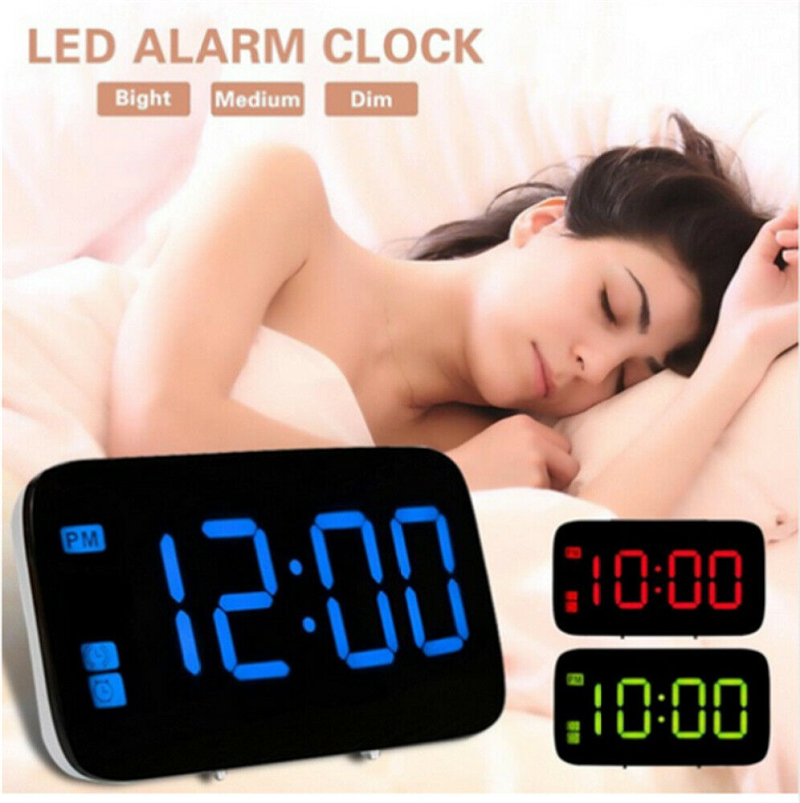USB LED Digital Alarm Clock Snooze Large LCD Display Battery Powered Voice Control Hourly Chime Multi-Function Alarm Clocks