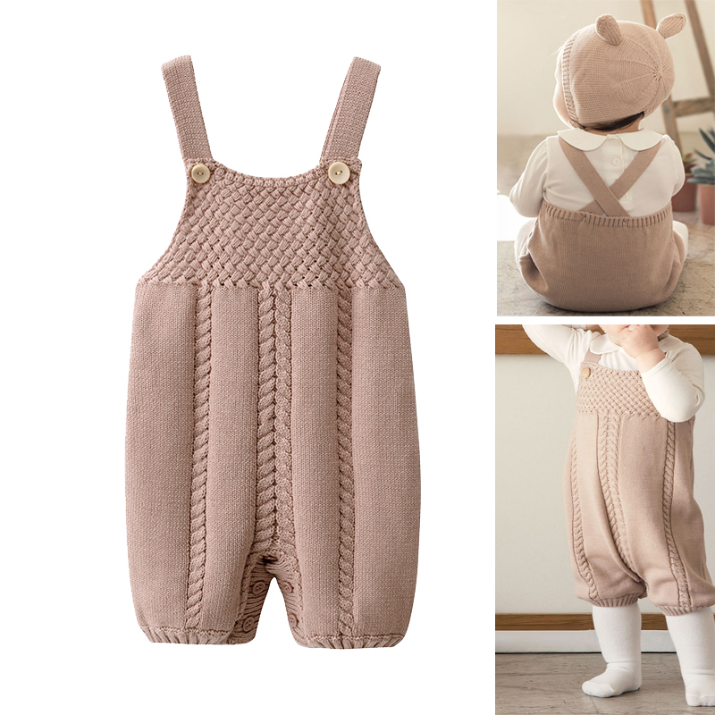 TOU-Baby Winter Vest Overalls Newborn Sleeveless Warm Romper Kids Knit Overalls Jumpsuit Infant Autumn One-Piece Romper Outfits