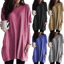 Plus Size Women Solid Color Sweater O-Neck Long Sleeve T-Shirt Tunic Top New Sweater with Pockets 2019(China)