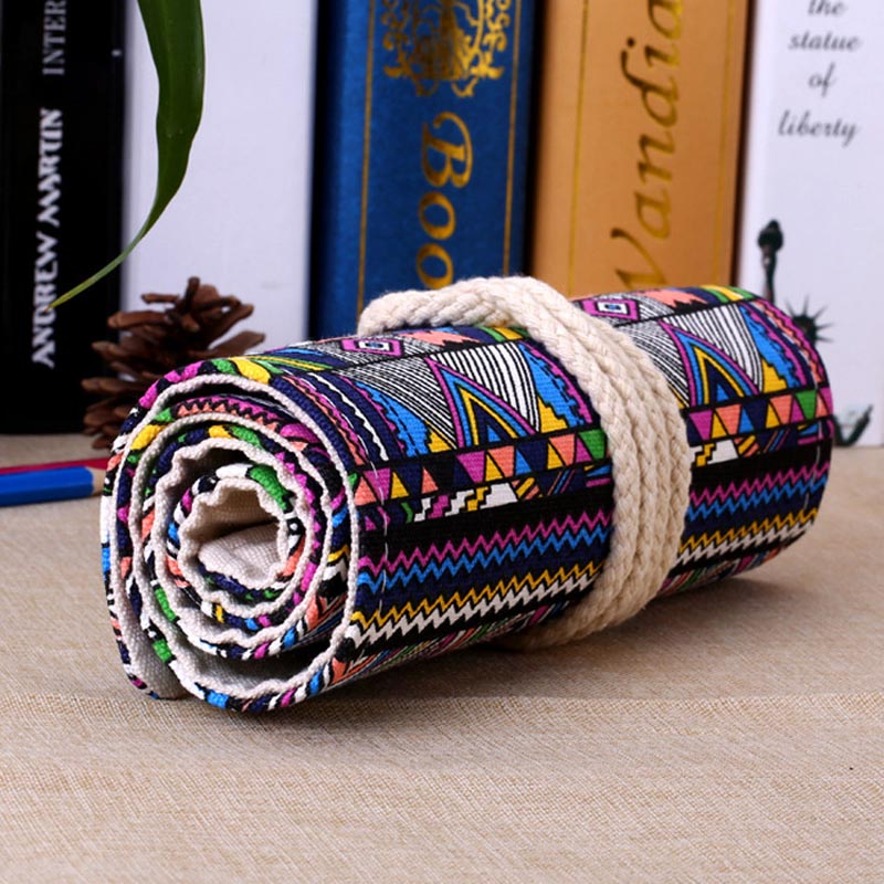 New 36/48/72 /12 Holes Canvas Wrap Roll Up Pencil Bag Pen Case Holder Storage Pouch Writing Supplies Boy Girl Art Pencil Box
