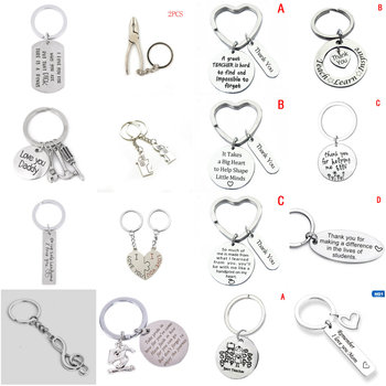 1PCS Keychain 'Thank You For Helping Me Grow&Learn' Ruler abc Book Charm Pendant Keychain Heart Keyring Key Chains Gift Teacher image