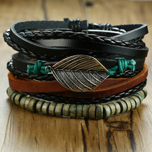 Vnox Holiday Bracelets Set for Men Leather Wrisband Mixed Rope Beads Chain Wrap Bracelet
