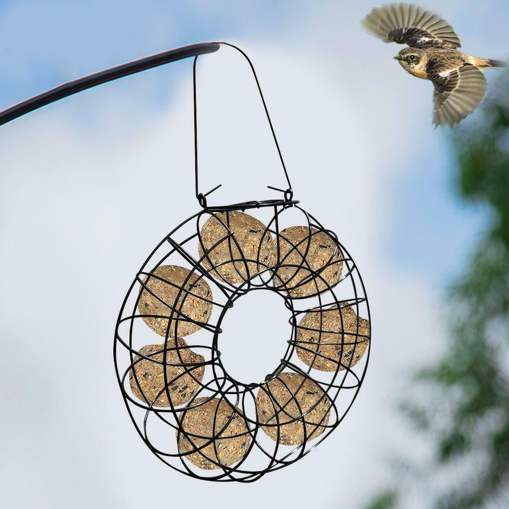 Sturdy Garden Home Round Shape Metal Hanging Refillable Bird Feeder Fat Ball