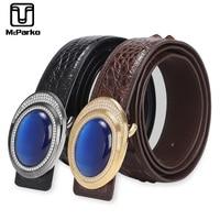 McParko Genuine Leather Crocodile Belt Luxury Men Belt Stone Stainless Steel Design Waist Belt Real Alligator Skin Srtaps Male