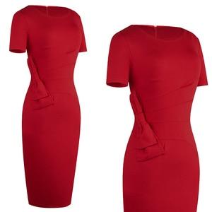 Image 3 - Nice forever Vintage Solid Color Side Split Wear to Work Zipper Bow vestidos Bodycon Office Business Sheath Women Dress B427