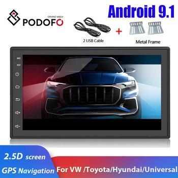Podofo Android 2 Din Car radio GPS navegación coche reproductor Multimedia 2 din para VW Passat Toyota Nissan Hyundai Kia coche Autoradio