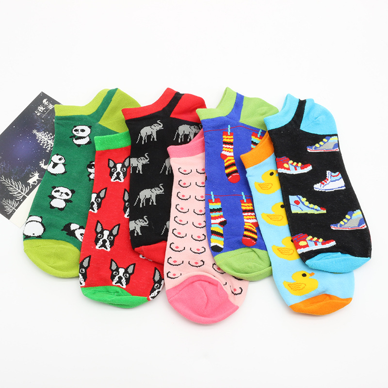 PEONFLY Summer Happy Socks Men Cotton Boat  Crew Street Socks Ankle Cotton Short Funny Women Men Boat Socks Male Sock Slippers