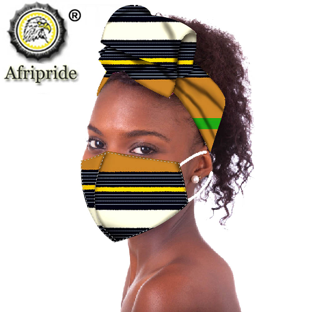 African Headwraps Fashion Ankara Print Cotton Headband Bonnet Line Hair Reversible African Headscarf Mask Match Print S20H006