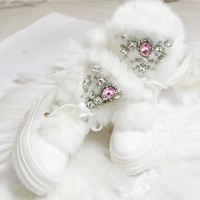 2020 Real Rabbit Fur Winter Boots Rhinestones Diamond Snow Boots Thick Warm High Top Women Shoes Large Size 41 Winter Boots