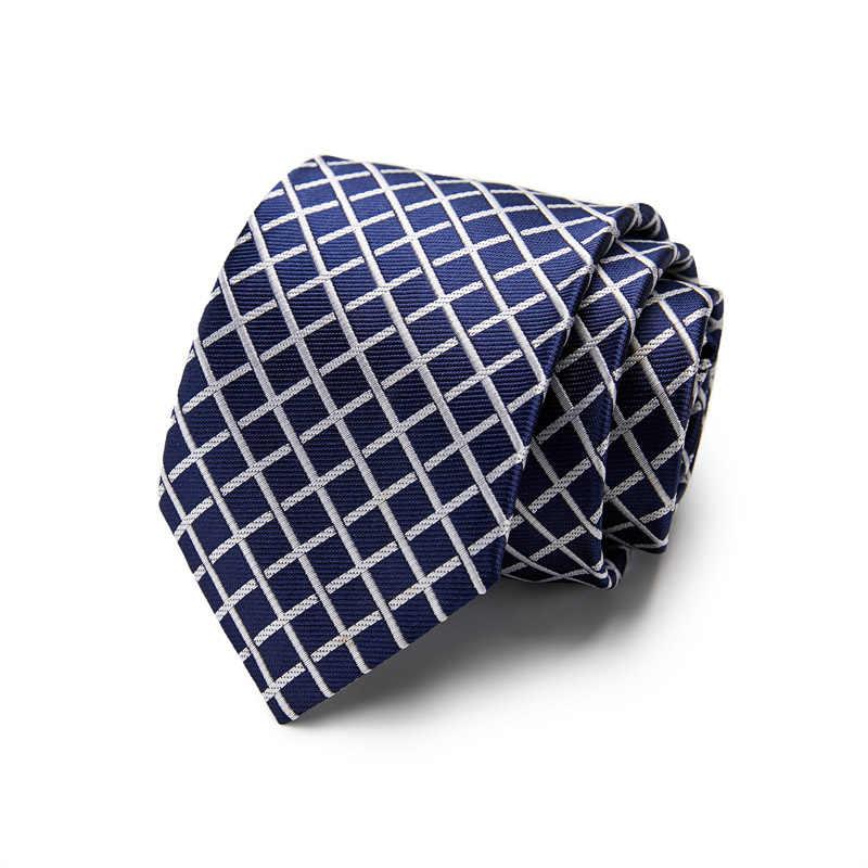 남성용 7.5 cm 패션 정장 비즈니스 정장 화이트 블루 넥타이 스트라이프 넥타이 옐로우 100% 실크 넥타이 레드 웨딩 넥타이