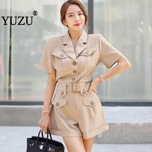 Gothic Rompers Womens Safari Style Jumpsuit 2019 Summer Khaki Black Single-breasted Belted Pocket Work Office Fashion Shorts buttoned pocket belted palazzo jumpsuit