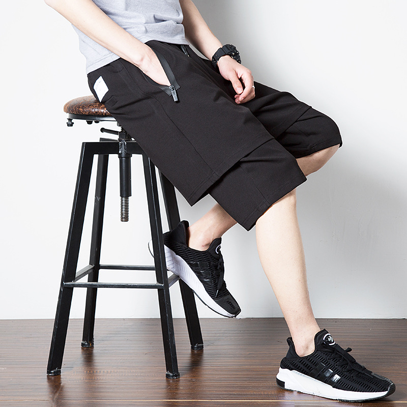 2019 Autumn New Style MEN'S Shorts Fake Two-Piece Shorts Harem Pants Men Casual Loose And Plus-sized Thin Shorts