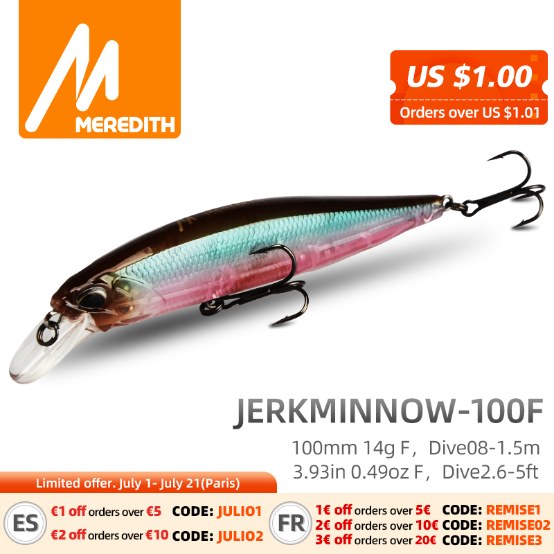 MRERDITH JERK MINNOW 100F 14g Hot Model Fishing Lure Hard Bait 24Color wobbler Minnow Quality Professional