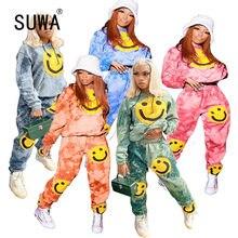 Uroczy wzór wydruku kobiet sweter z długim rękawem 2 kawałki ubrania garnitur kobiet sportowy pasujący zestaw