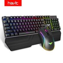 هافيت لوحة المفاتيح الميكانيكية 104 مفاتيح الأزرق التبديل الألعاب لوحة المفاتيح RGB/مصباح ليد السلكية USB لنا/لوحة مفاتيح روسية