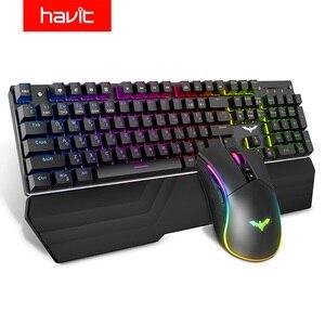 Image 1 - Механическая клавиатура HAVIT, игровая клавиатура с 104 клавишами и голубым переключателем, RGB/светодиодная подсветка, проводная USB клавиатура для США/русской раскладки