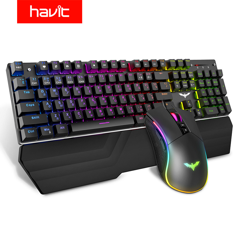 HAVIT Mechanical Keyboard 104 Keys Blue Switch Gaming Keyboard RGB /LED Light Wired USB For US / Russian Keyboard title=