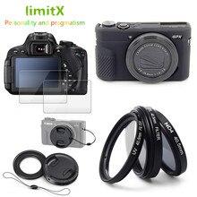 Étui en Silicone pour appareil photo Canon G7X Mark III, accessoires, filtre UV et CPL, bague dadaptation, protecteur LCD en verre uniquement