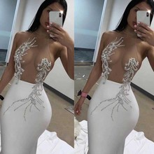Wholesale 2019 New womans dress black White Mesh perspective Sexy nightclub celebrity cocktail party bandage