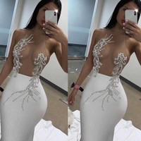 Wholesale 2019 New woman's dress black White Mesh perspective Sexy nightclub celebrity cocktail party bandage dress